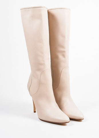 Manolo Blahnik Beige Leather Calf High High Heel Zipped Boots Frontview