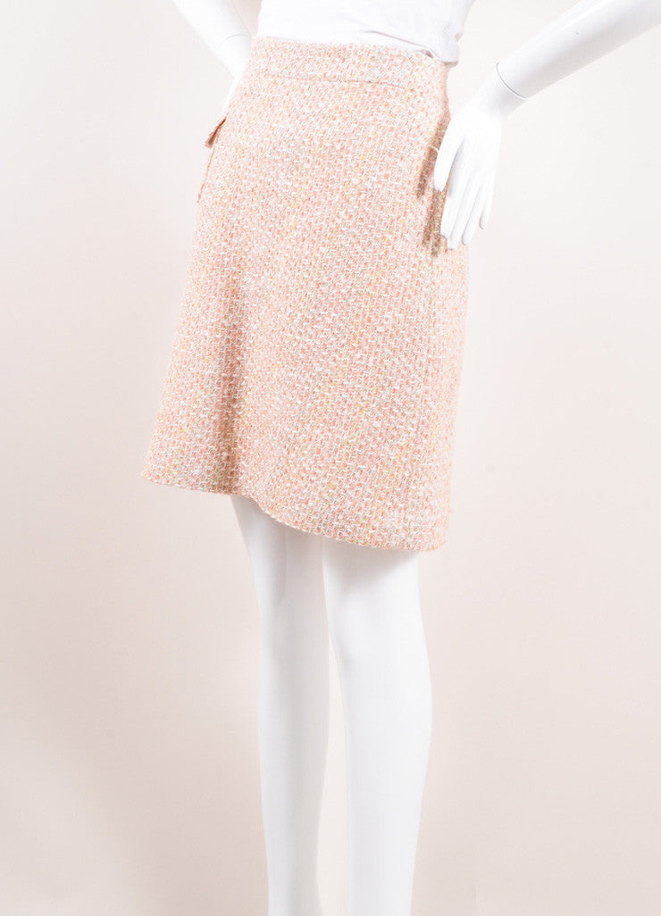 Monique Lhuillier Pink and Cream Wool and Cotton Tweed Skirt Sideview