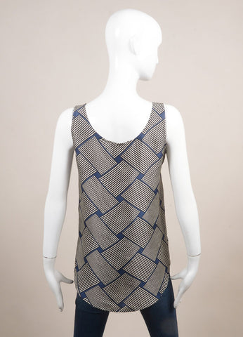 Odeeh New With Tags Blue, Black, and White Silk Abstract Stripe Print Tank Top  Backview