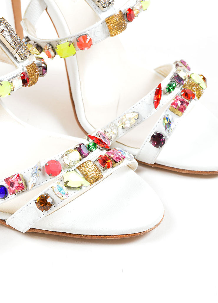 "Oscar de la Renta White and Multicolor Leather Jewel ""Simona"" Sandals Detail"