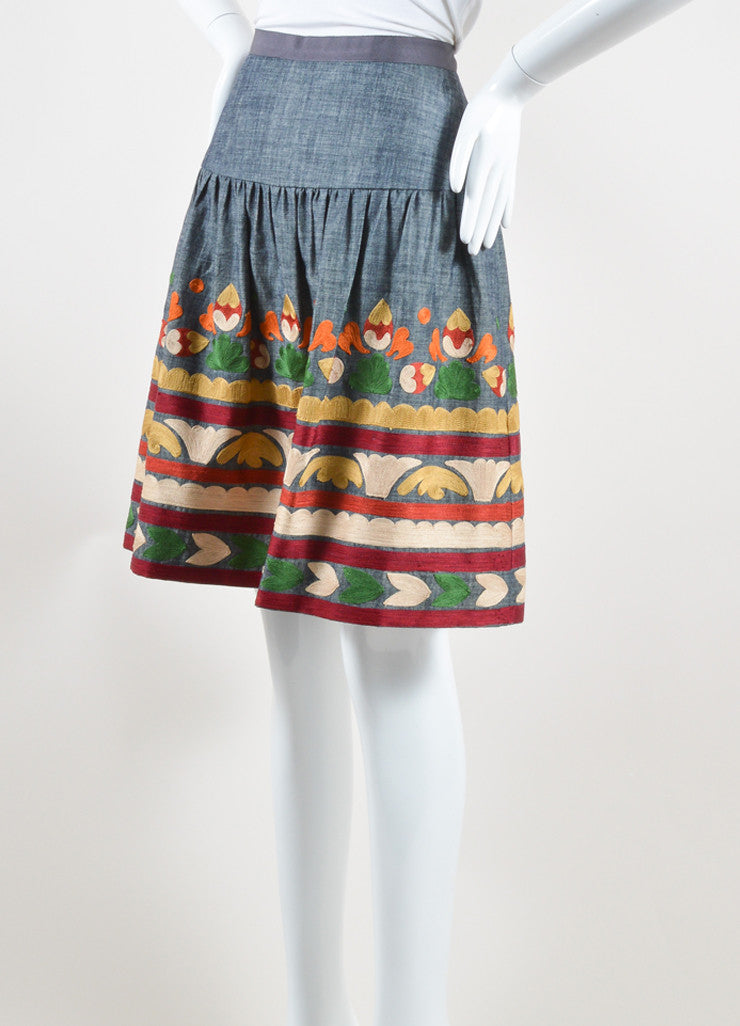 Oscar de la Renta Denim Blue and Multicolor Cotton and Silk Embroidered Skirt Sideview