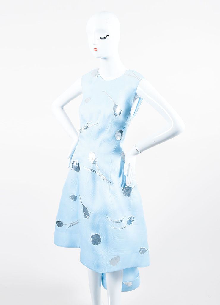 Baby Blue and Silver Oscar de la Renta Silk Floral Sleeveless Gown Sideview