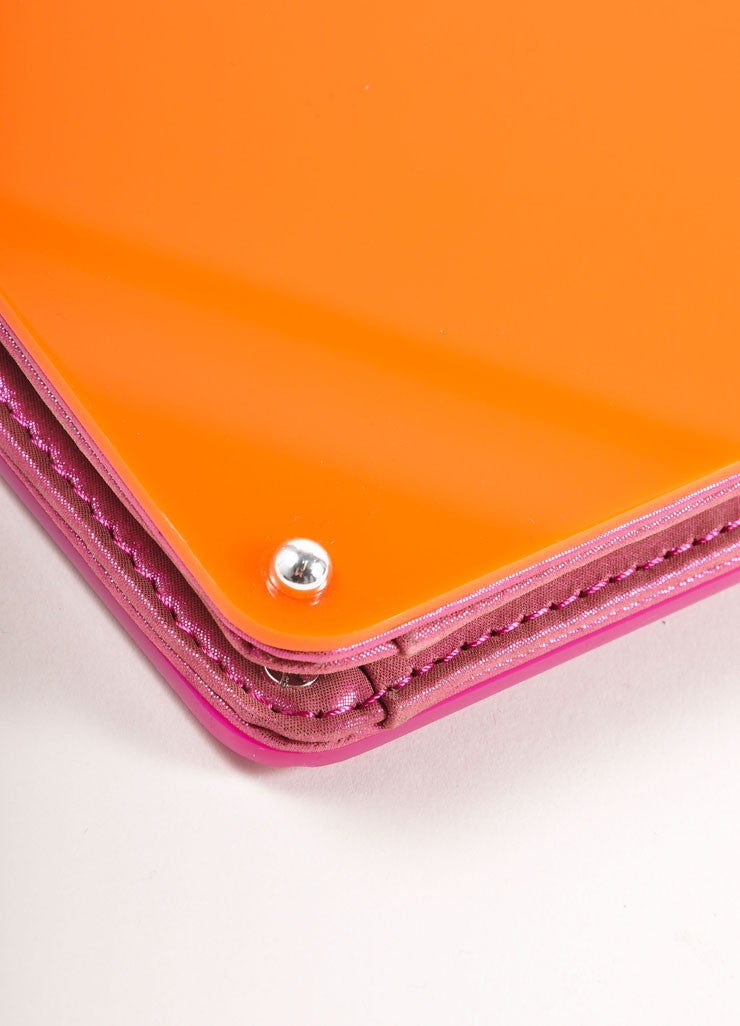 Overture Judith Leiber Orange and Pink Color Block Panel Chain Strap Clutch Bag Detail