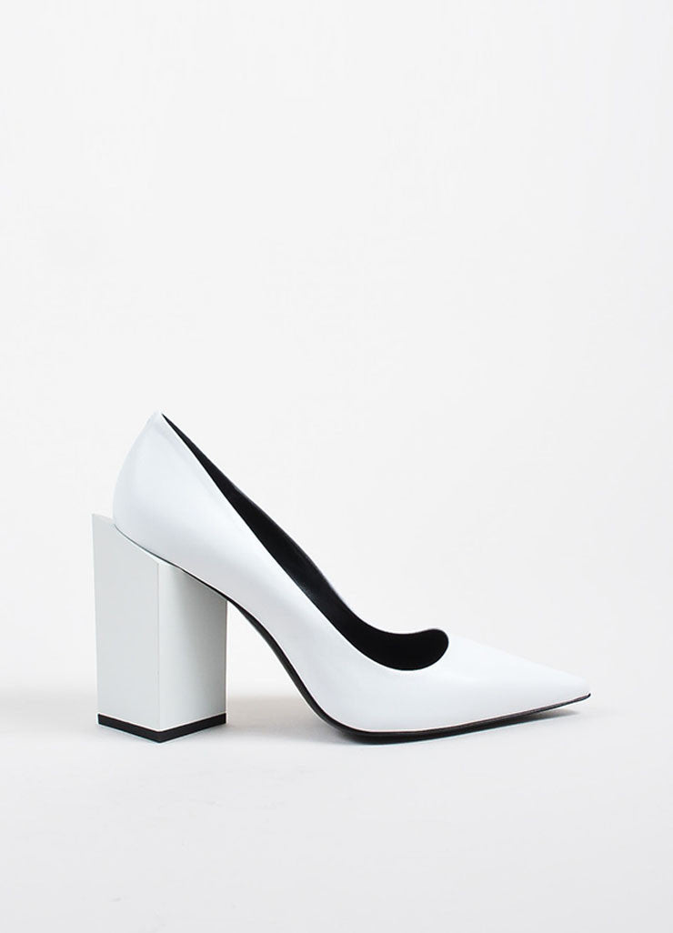 "Pierre Hardy White Leather ""Monolite"" Chunky Heel Pointed Pumps Sideview"