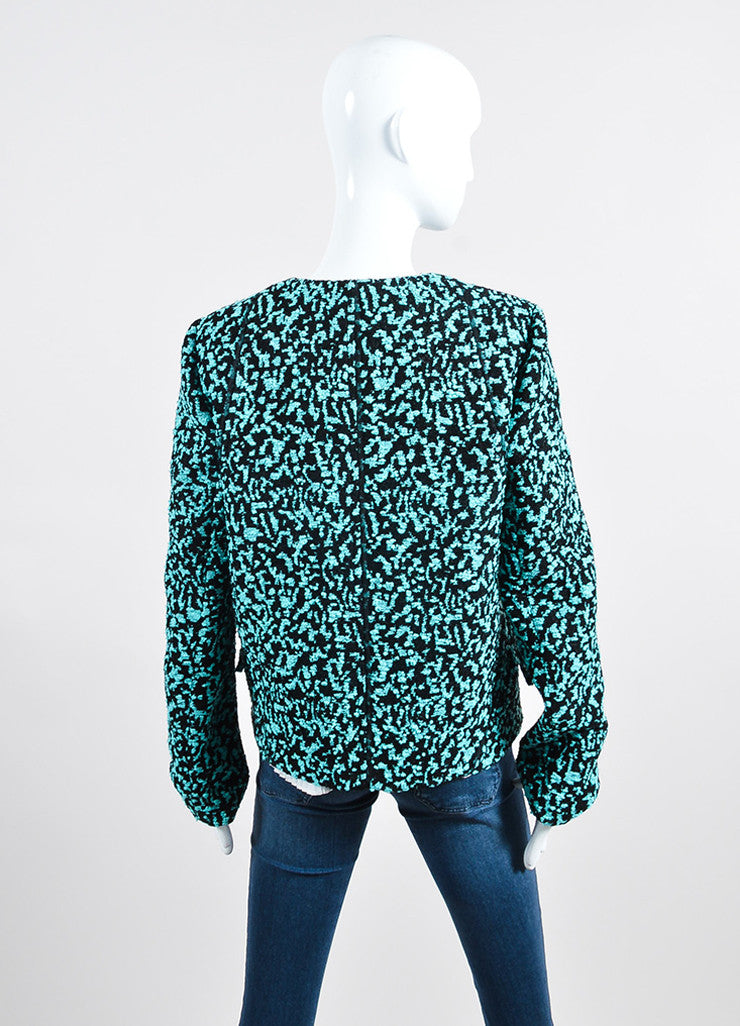 Teal and Black Proenza Schouler Boucle Jacquard Snap Front Jacket Backview