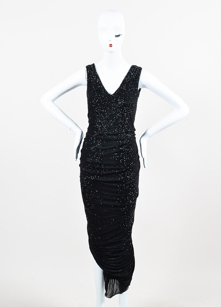 Ralph Lauren Collection Black Beaded Ruched Sleeveless Gown Frontview