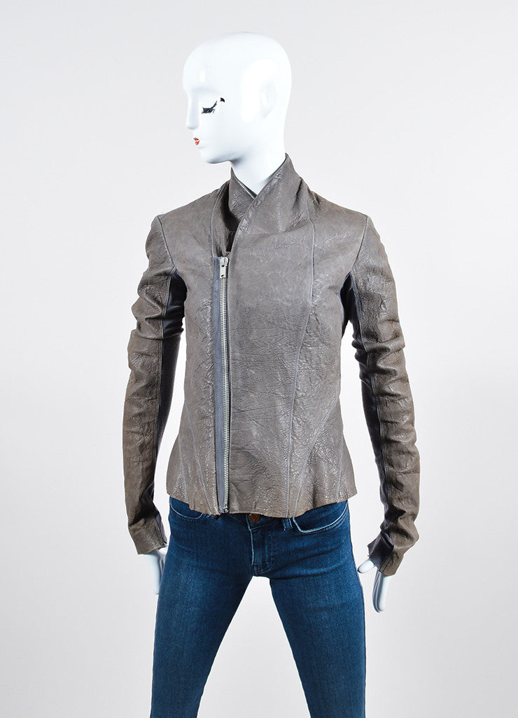 Grey Rick Owens Distressed Leather Wool Paneled Jacket Frontview 2