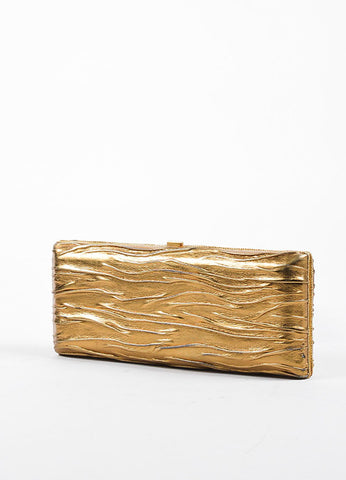 VBH Metallic Gold Leather Rectangular Compact Clutch Bag Sideview