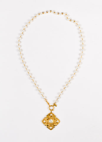 Chanel Gold Toned Faux Pearl Strand Medallion Removable Pendant Necklace Frontview