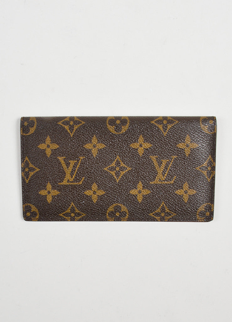 Brown Louis Vuitton Monogram Canvas Checkbook Wallet Frontview