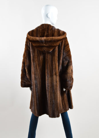 Nina Ricci Brown Hooded Buttoned Fur Coat Backview