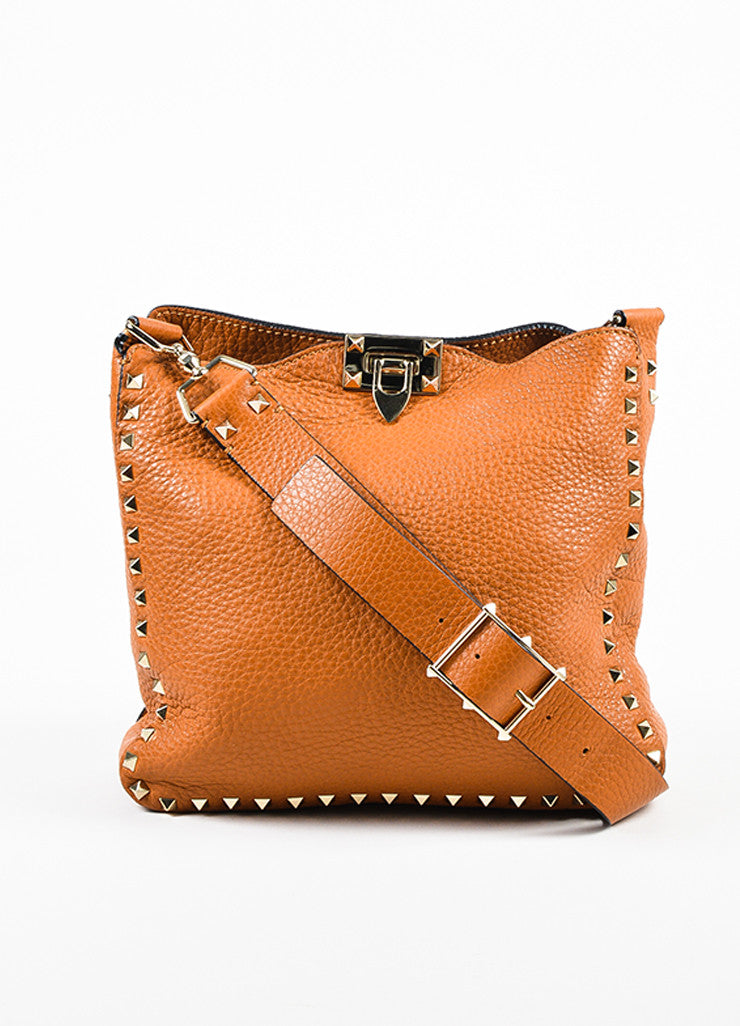 "Valentino Tan Brown Leather ""Rockstud Flip Lock Messenger"" Crossbody Bag  Frontview"
