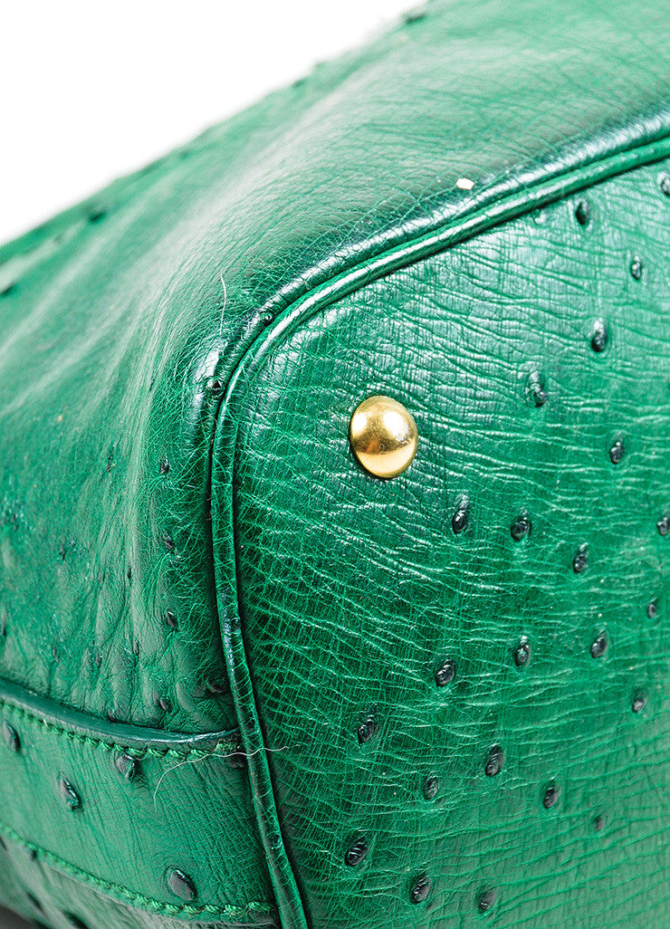 "Green and Gold Toned Yves Saint Laurent Ostrich Limited Edition ""Muse"" Bag Detail"