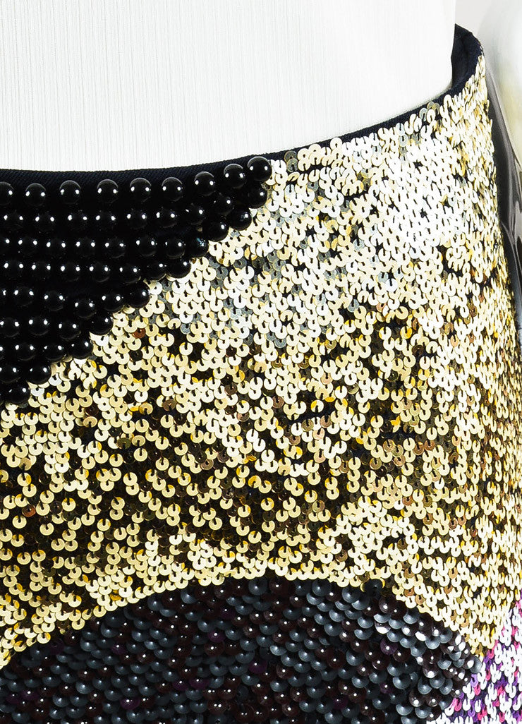 3.1 Phillip Lim Black and Multicolor Wool Sequin Beaded Mini Skirt Detail