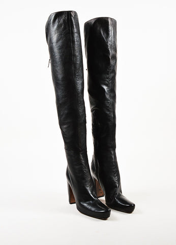 Alaia Black Leather Lace Up Over The Knee Block Heel Boots Frontview