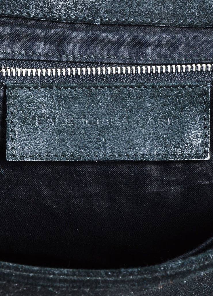 Black Balenciaga Suede Leather Flap Messenger Shoulder Bag Brand