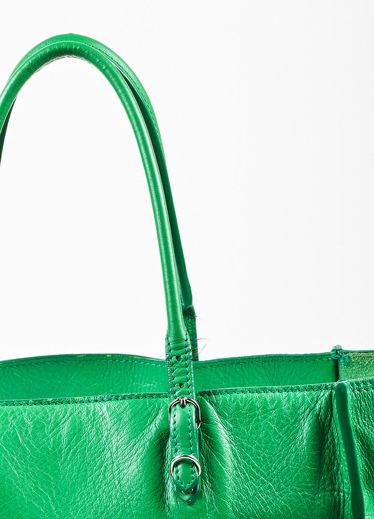 "Balenciaga Green Leather Silver Hardware ""Papier A5 Zip Around"" Tote Bag Detail 2"