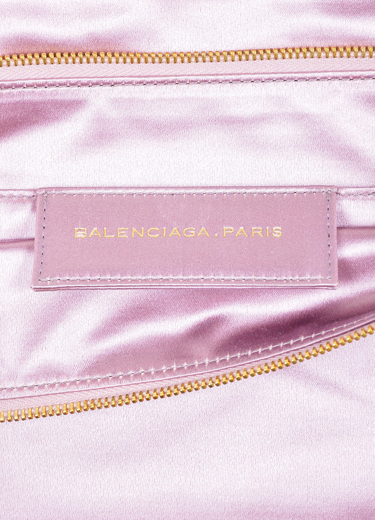 Pink Balenciaga Satin Moto Flap Clutch Bag Brand