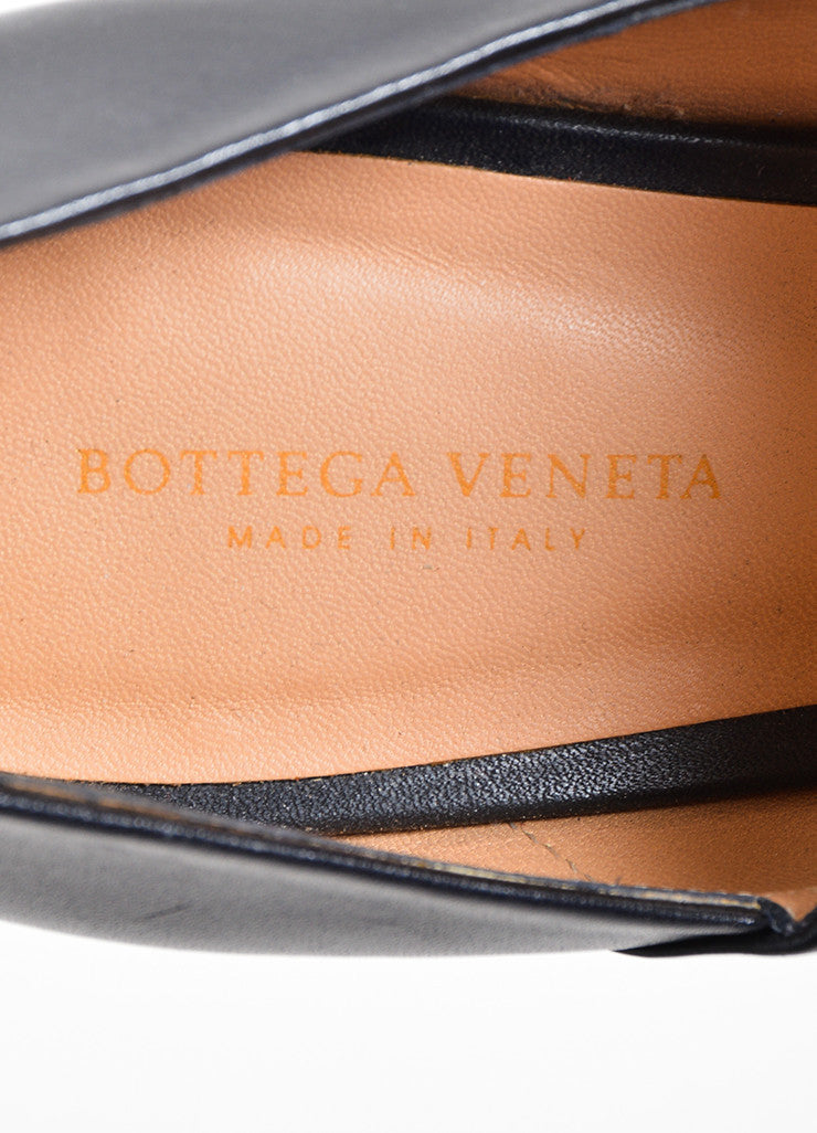 Bottega Veneta Black and Brown Leather Wide Double Strap Heeled Sandals Brand