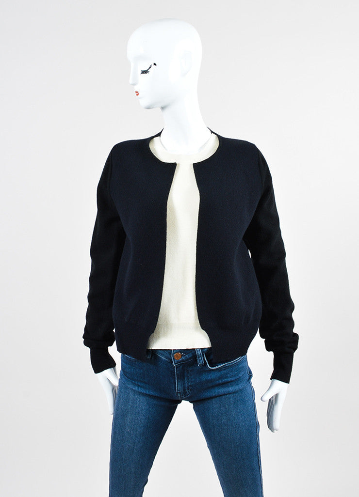 Black and Cream Celine Wool and Cashmere Cardigan Sweater with Built In Shell Frontview