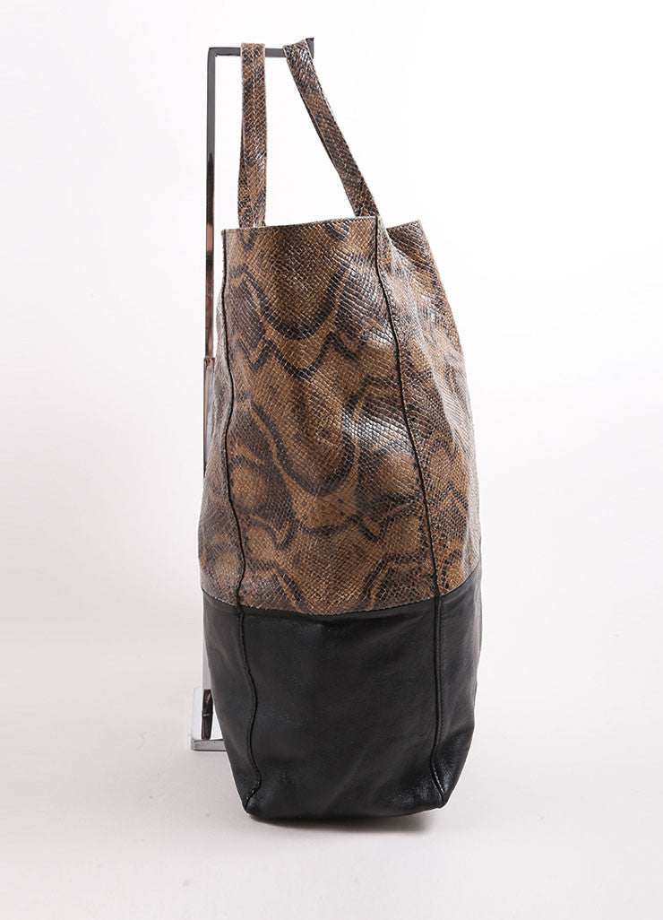 "Celine Brown and Black Embossed Snakeskin Leather ""Vertical B-Cabas"" Tote Bag Sideview"