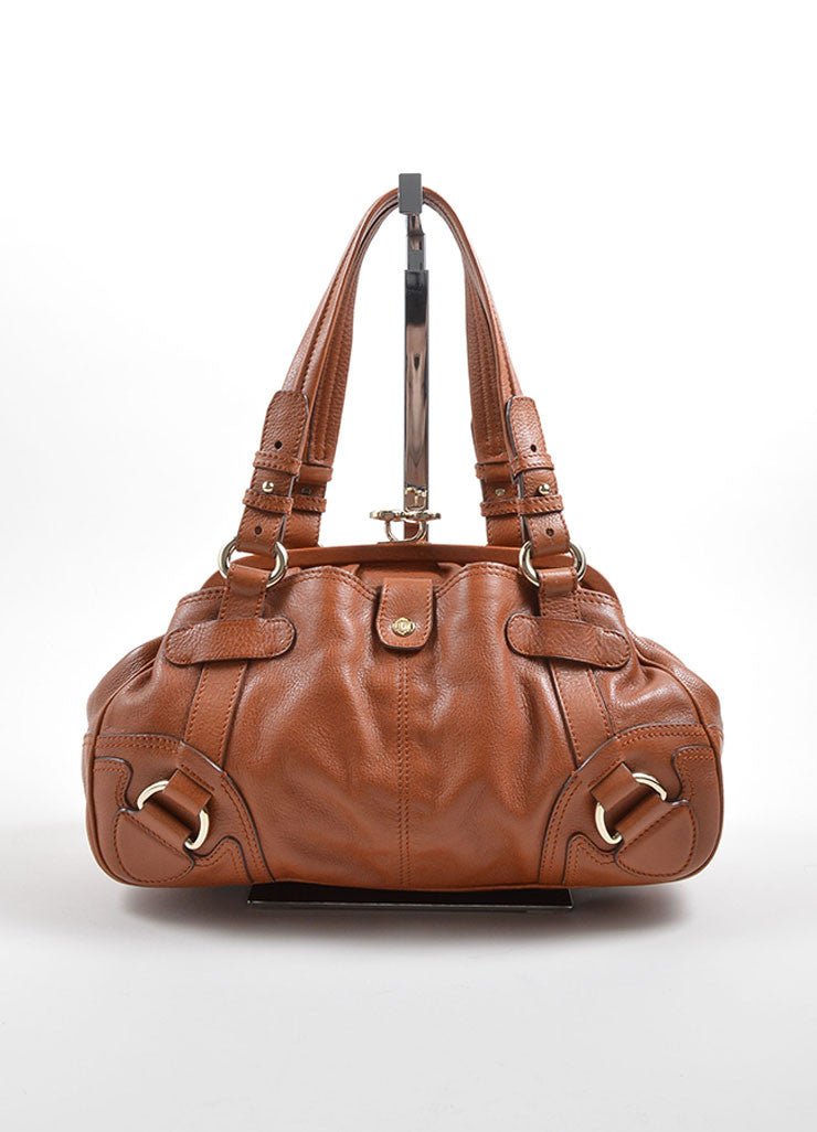 Celine Caramel Pebbled Leather Satchel Handbag Front