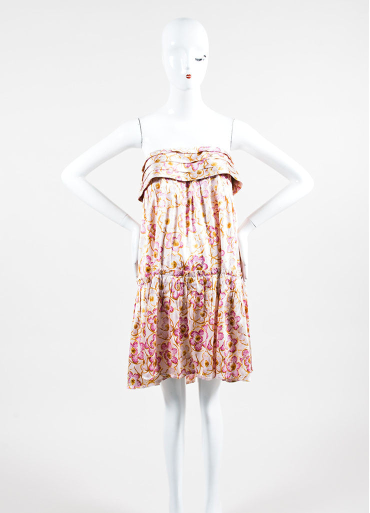 Pink & Yellow Chanel Silk Floral Print Strapless Dress Front