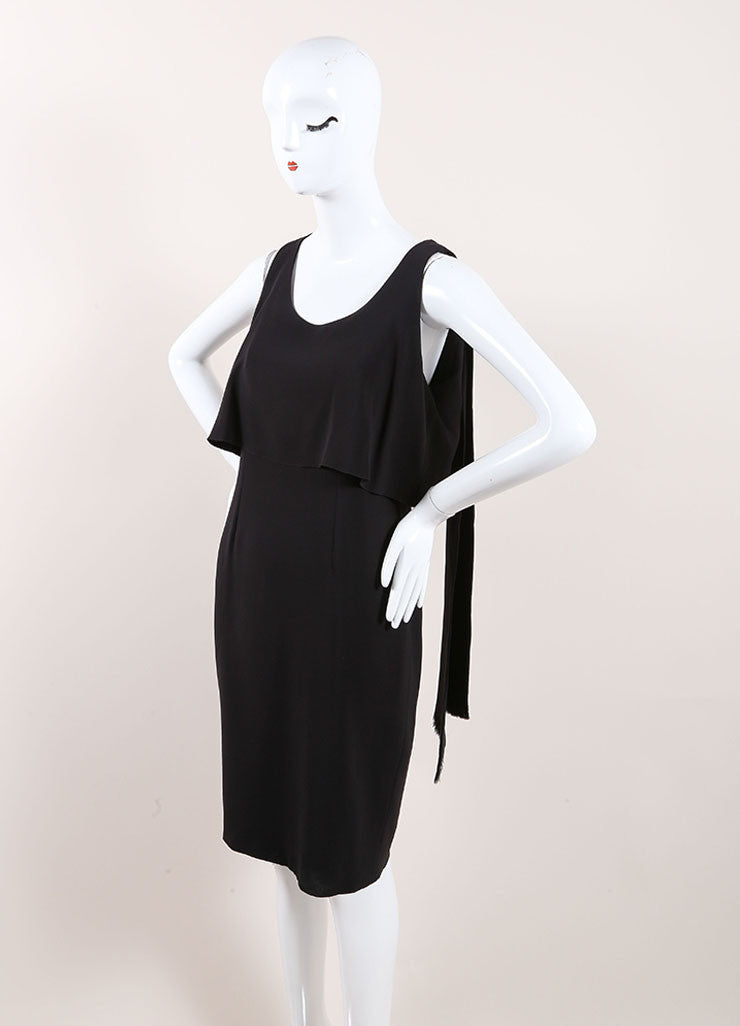 Chanel Black Silk Tiered Sleeveless Drape Dress Sideview