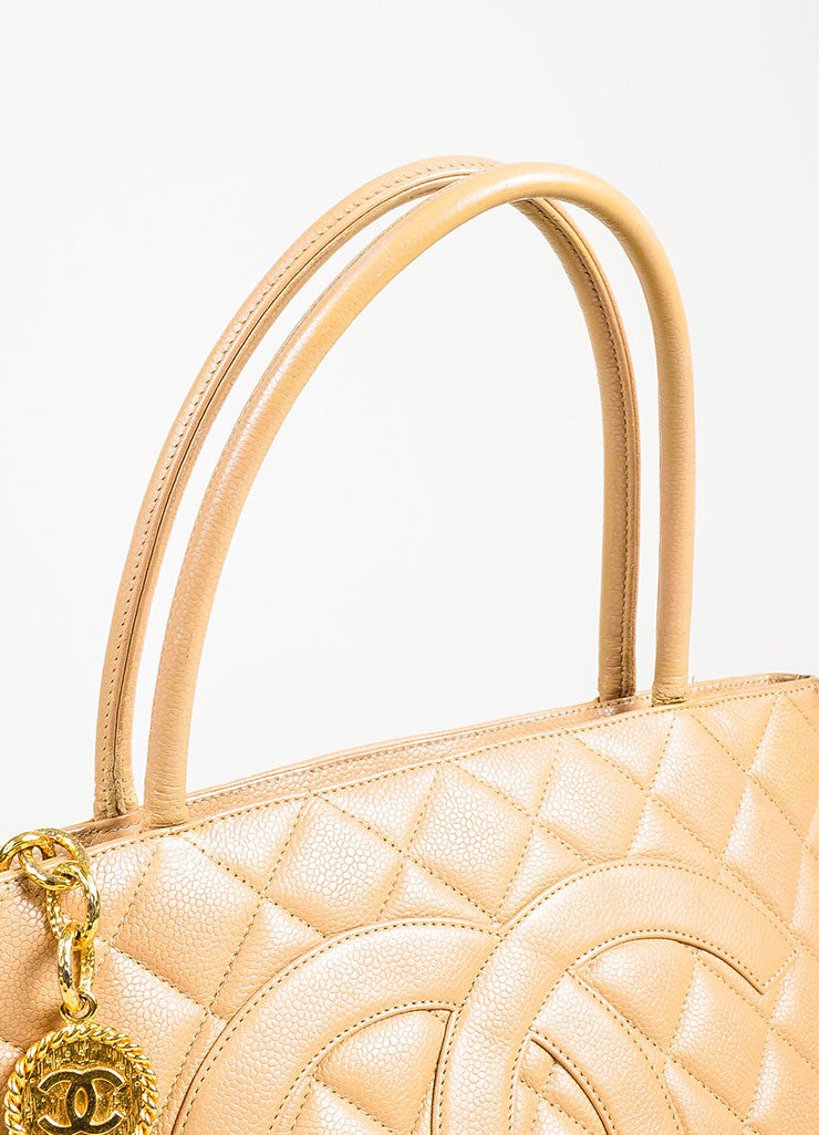 "Chanel Beige Quilted Caviar Leather 'CC' Logo ""Medallion Tote"" Bag Detail 6"