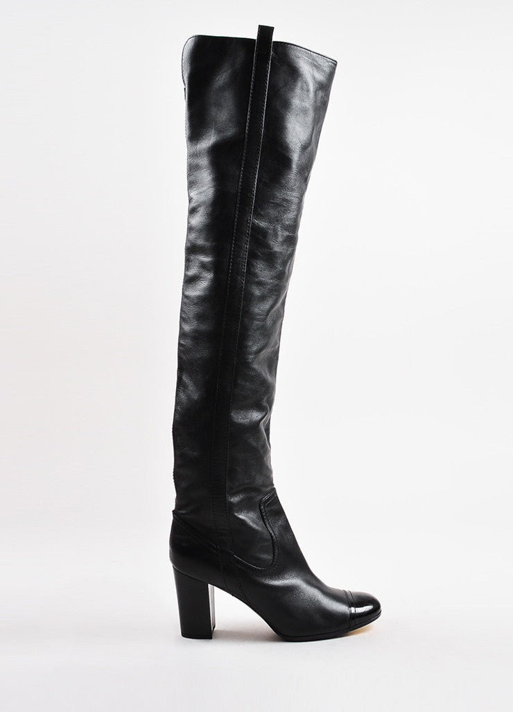 Chanel Black Leather Cap Toe Paneled Block Heel Over The Knee Boots Side