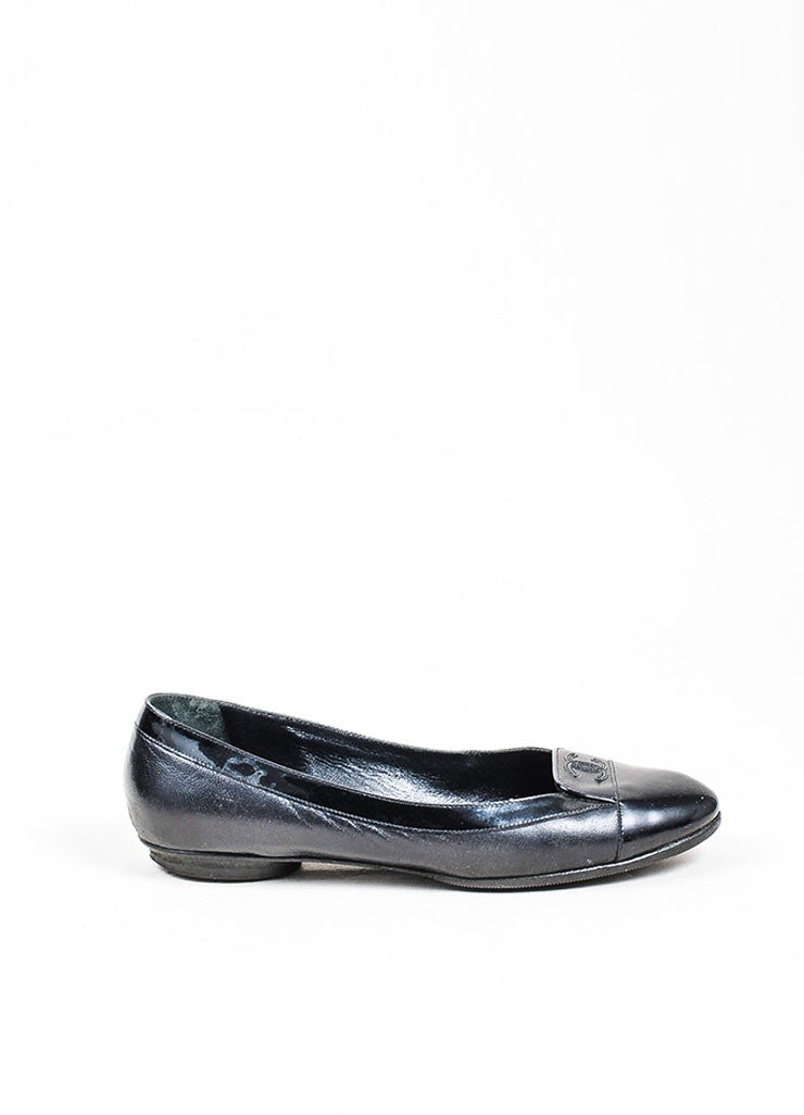 Black Chanel Patent Leather Cap Toe 'CC' Low Heel Loafers Sideview