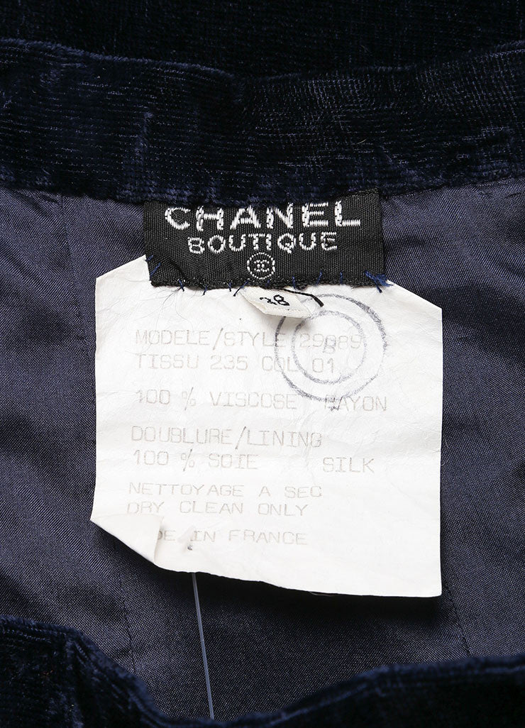 Chanel Midnight Blue Velvet Midi Pencil Skirt Tag