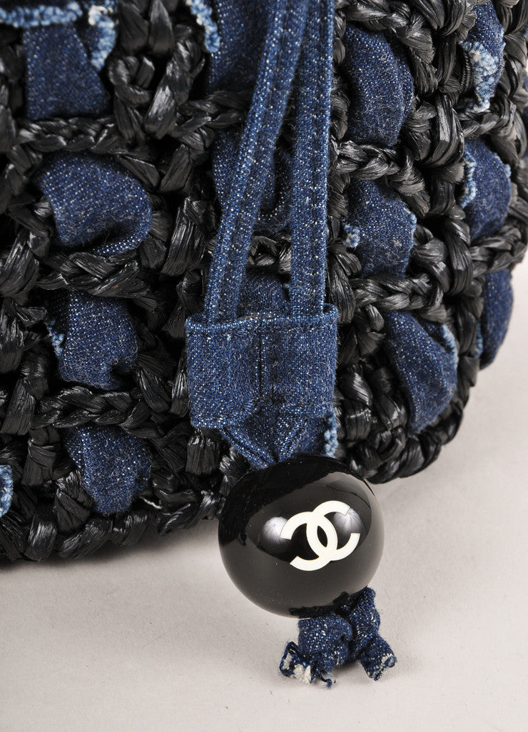 Chanel Dark Blue Denim and Raffia Basketwoven Small Drawstring Bucket Handbag Detail 2