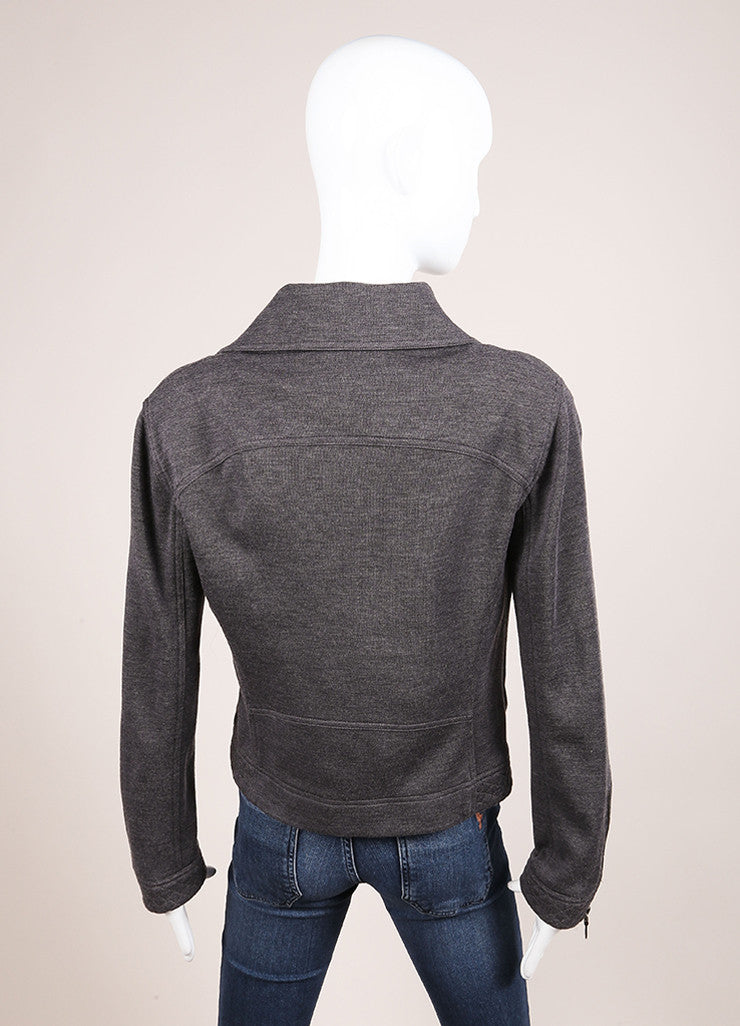 Chanel Grey Wool Moto Zip Up Jacket Backview