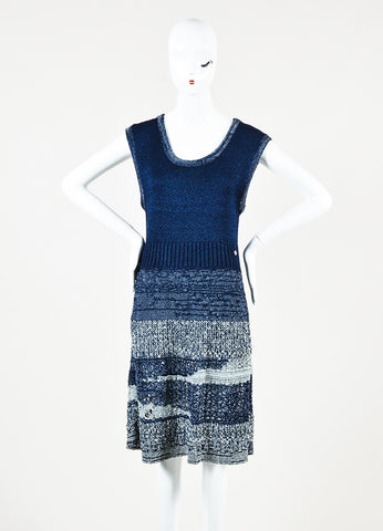 Chanel Navy and Metallic Grey Crochet Knit Sleeveless Marled Dress Frontview