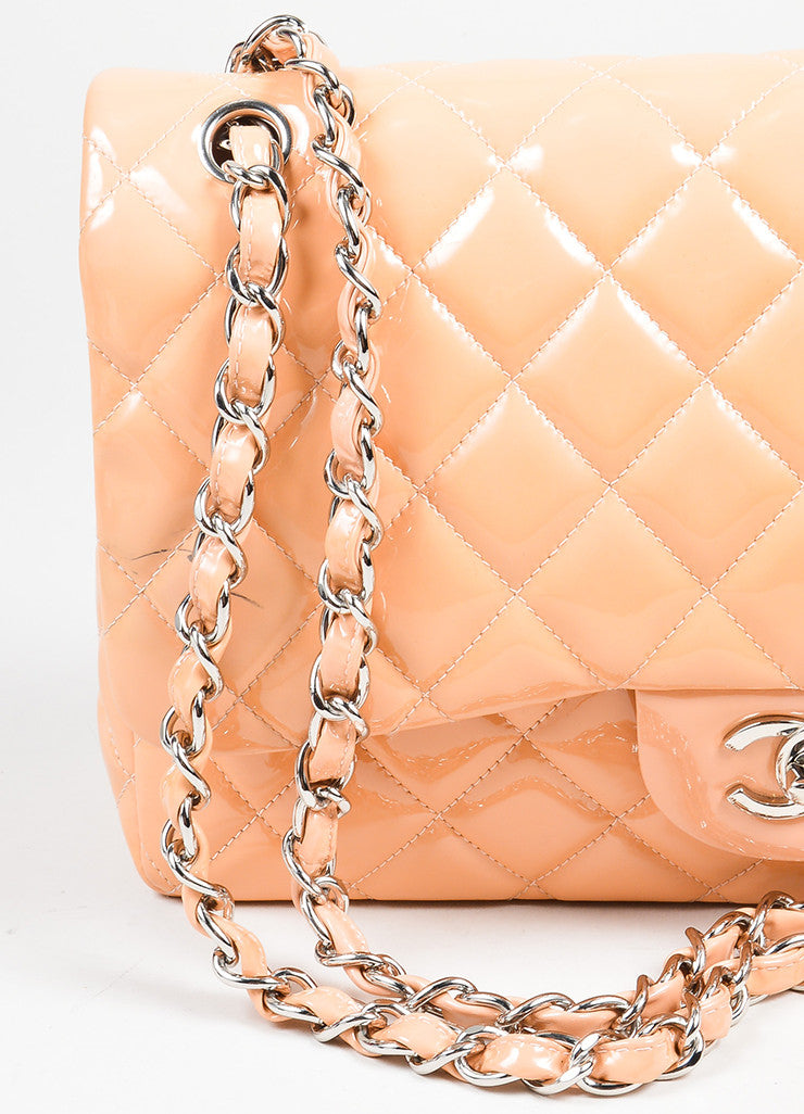 "Nude Chanel Patent Leather Quilted ""Classic Jumbo"" Double Flap Shoulder Bag Detail 2"