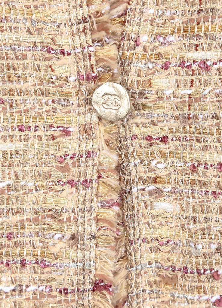 Chanel Tan and Multicolor Boucle Tweed Fringe Trim Skirt Suit Detail