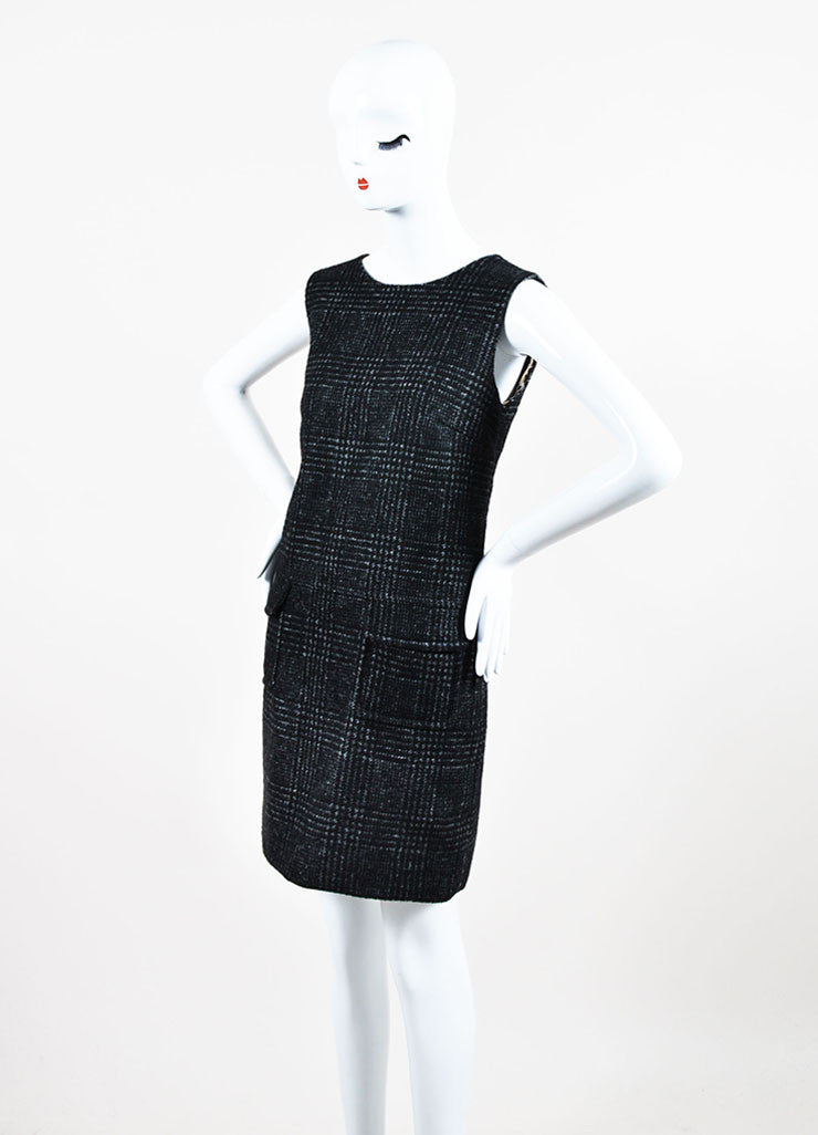 Dolce & Gabbana Grey Wool Sleeveless Jewel Neck Shift Dress Sideview
