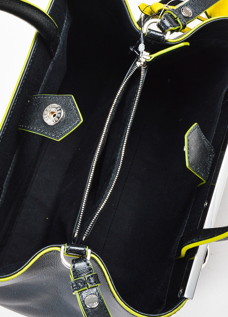 "Fendi Black and Green Leather Apple Charm ""Petite 2 Jours"" Tote Bag interior"