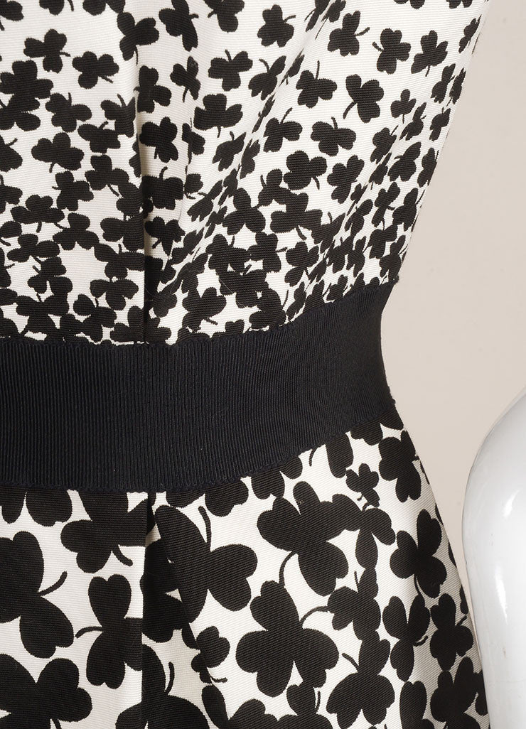 Giambattista Valli NWT Black White Clover Print Cap Sleeve Grosgrain Dress SZ L Detail