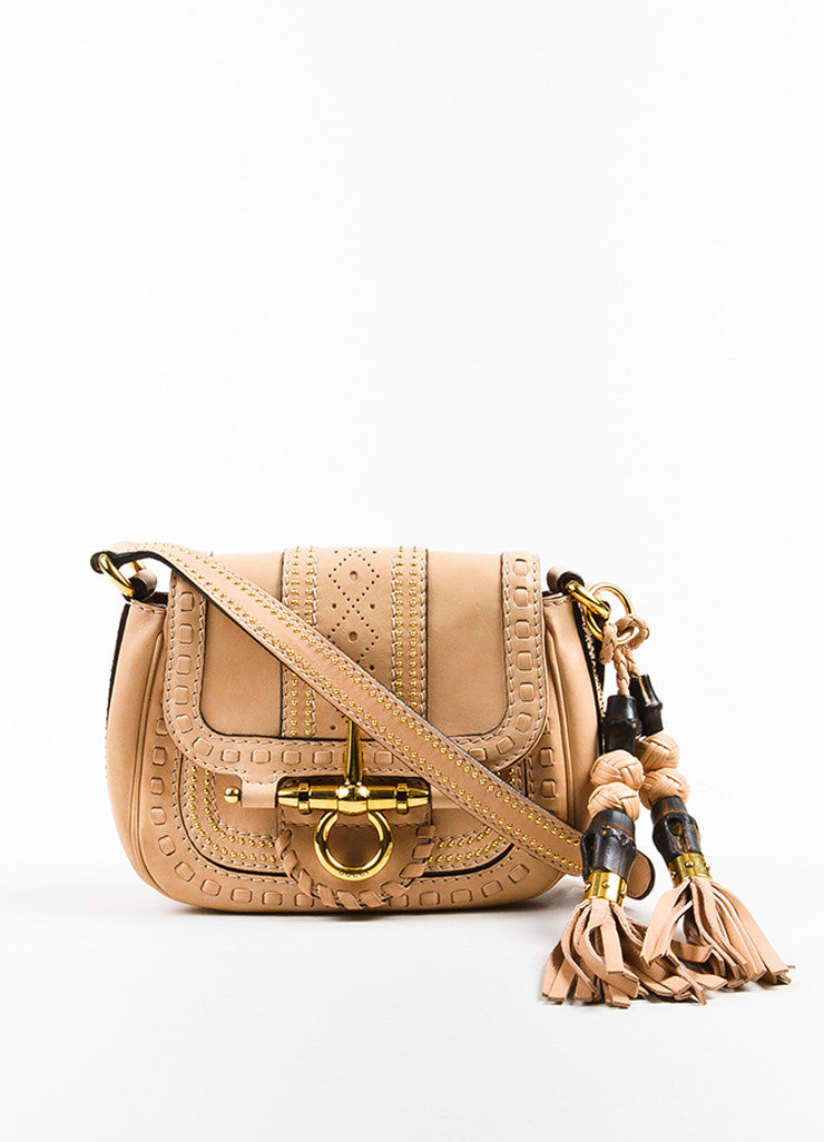 "Gucci Beige Leather Gold Toned Stud Tassel ""Small Snaffle Bit"" Bag Frontview"