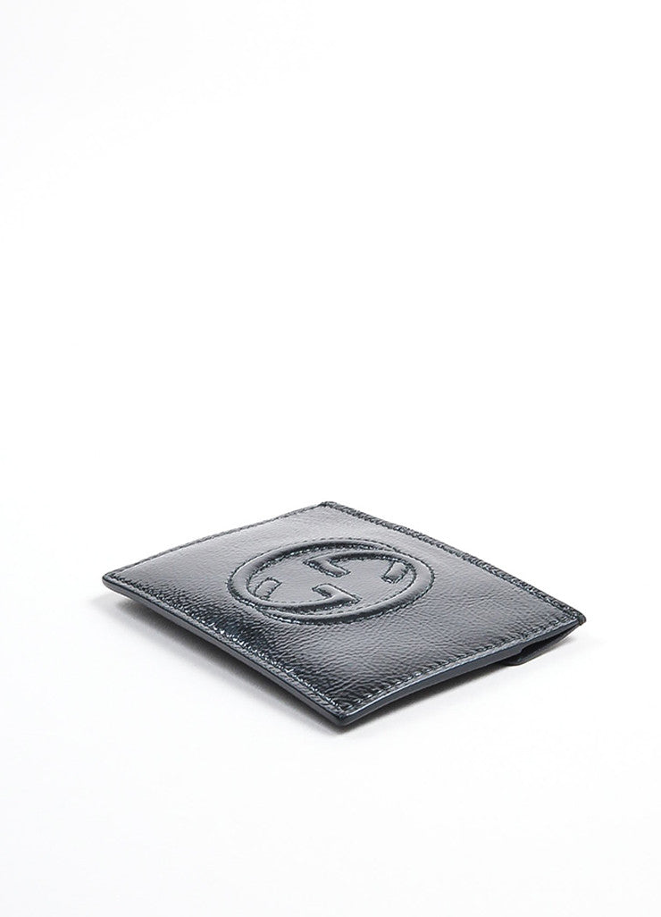 "Gucci ""Soho"" Black Patent Leather Textured Card Case Sideview"