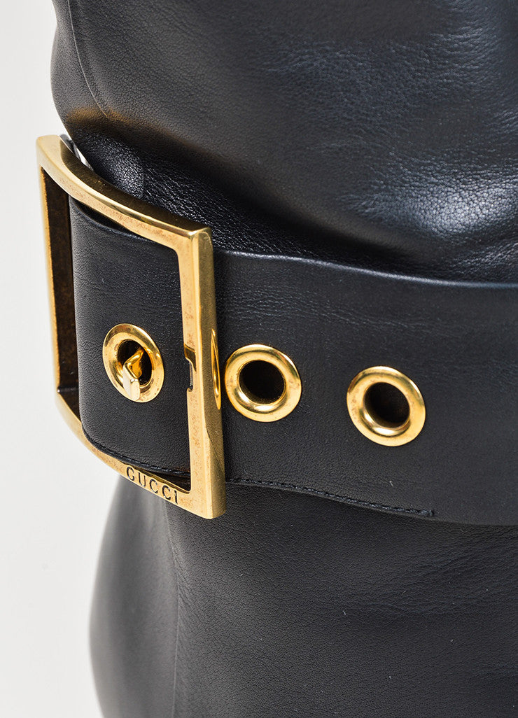 Black and Gold Toned Gucci Buckled Knee High Heeled Square Toe Boots Detail