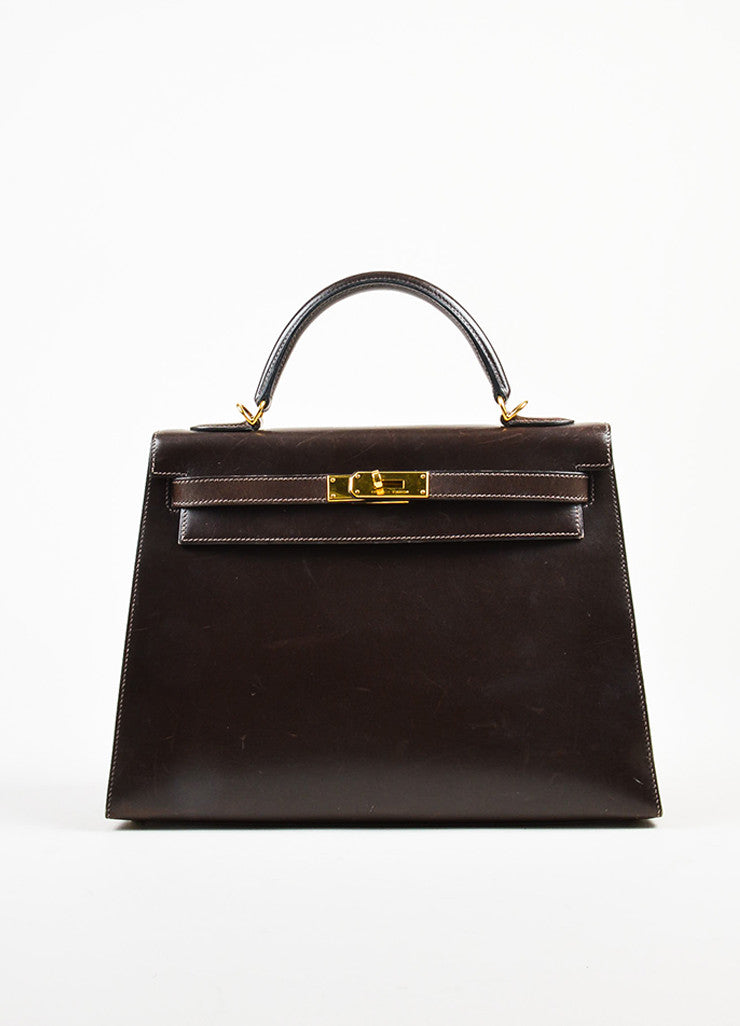 "Hermes Chocolate Brown Gold Toned Box Calf Leather 32cm Sellier ""Kelly"" Handbag Frontview"