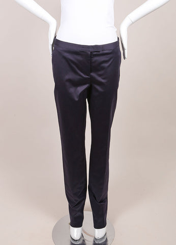 "Jil Sander New With Tags Navy Sateen Cotton Straight Leg ""Daniel"" Trousers  Frontview"
