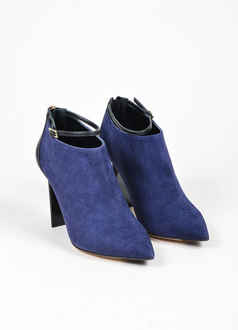 Jimmy Choo Navy and Black Suede Leather Ankle Strap Back Zip Booties Frontview