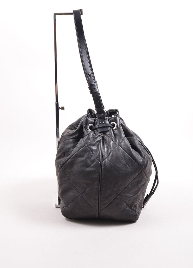 "Lanvin Black Quilted Leather ""Amalia"" Bucket Bag Side"
