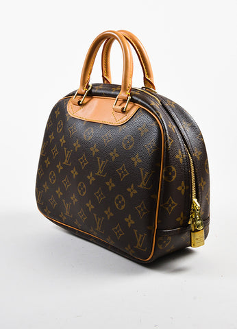 "Brown Louis Vuitton Monogram Coated Canvas ""Trouville"" Bag Back"
