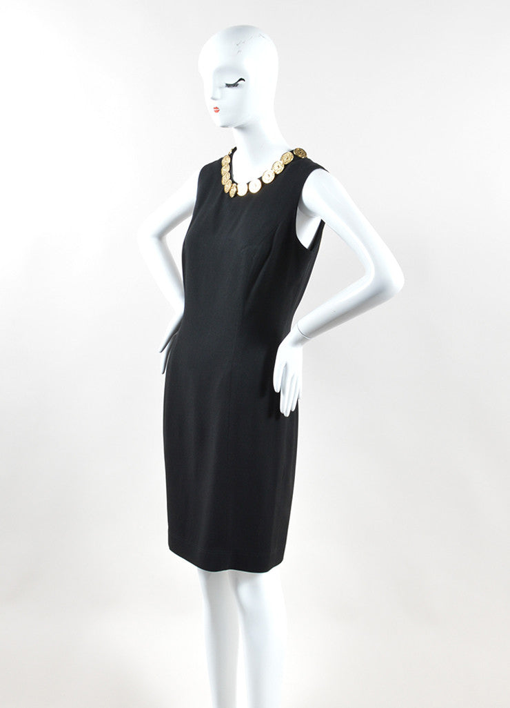 Moschino Cheap and Chic Black Crepe Coin Medallion Sleeveless Sheath Dress Sideview