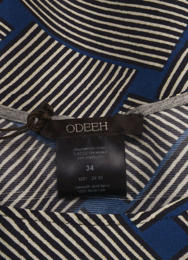 Odeeh New With Tags Blue, Black, and White Silk Abstract Stripe Print Tank Top Brand